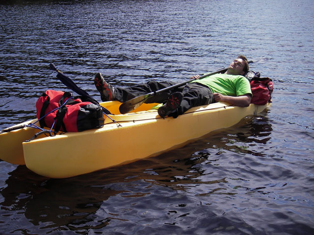Easier to paddle than a canoe and lots of storage space.